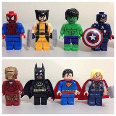 Spiderman, Wolverine, Incredible Hulk, Captain America, Ironman, Batman, Superman, and Thor