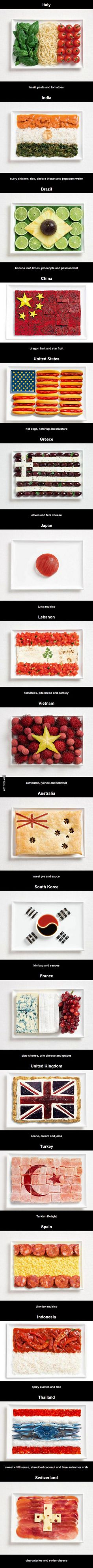 Flags made from nation's food
