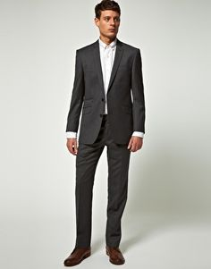 Shop for Ben sherman Kings Skinny 2 Button Suit by Gibson at ShopStyle. Business Attire For Men, Slim Suit, Interview Outfits, Ben Sherman, Handsome Man, Dress For Success, Suit Fashion, Mens Suits, Charcoal