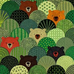 Bears in the Hills - felt applique and embroiodery workshop – Shiny Happy World Felt Embroidery, Felt Applique, Embroidery Stitches, Wool Applique Quilts, Simple Embroidery, Applique Pillows, Applique Quilt Patterns, Wool Quilts, Embroidery Files