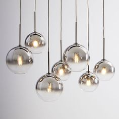 Sculptural Glass Linear Chandelier, S-M Globe, Silver Ombre Shade, Bronze Canopy Sculptural Glass Globe Chandelier - Metallic Ombre Chandelier Design, 3 Light Chandelier, Globe Chandelier, Linear Chandelier, Contemporary Chandelier, Pendant Lamp, Pendant Lighting, Silver Chandelier, West Elm Chandelier