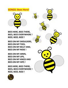 "SONGS - ""Bees Here"" cute song for body part recognition and a little movement, and to a Bee craft"