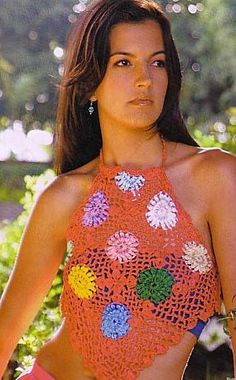 Multicolored Flowers Halter Top free crochet graph pattern
