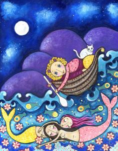 Girl and Mermaids Girl Cat and Boat Art Print por LindyLonghurst