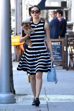 Emmy Rossum carries her cute Yorkie Cinnamon in Beverly Hills | Daily Mail Online