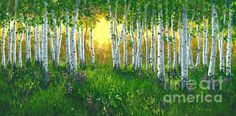 Summer Birch 24 X 48 by Michael Swanson - Summer Birch 24 X 48 Painting - Summer Birch 24 X 48 Fine Art Prints and Posters for Sale