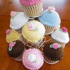 Cupcake Pincushion,  Crocheted Cupcake, Play Food. $8.00, via Etsy.