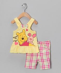 Take a look at this Yellow & Pink Plaid Winnie the Pooh Tank & Pants - Infant by Winnie the Pooh on #zulily today!
