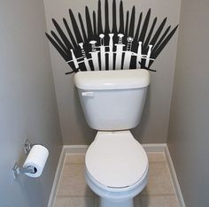 Funny pictures about The Porcelain Throne. Oh, and cool pics about The Porcelain Throne. Also, The Porcelain Throne photos. Game Of Thrones Party, Game Of Thrones Funny, Sticker Toilette, Toilet Wall, Got Party, Game Of Trones, Geek Crafts, Cool Gadgets, Wall Decals