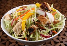 Chinese Grilled Chicken Salad, great mix of vegetables, excellent for dinner or lunch.  This site - Recipe Girl - has hundreds of great recipes.