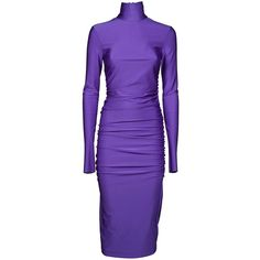 Erika Cavallini Classic Dress (12300 RSD) ❤ liked on Polyvore featuring dresses, lycra dress, purple long sleeve dress, zip back dress, long sleeve day dresses and purple dress