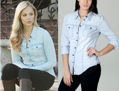 "Elena Michaels (Laura Vandervoort) wears a Guess Natalie Tencel Shirt in the color Involved Shade 2 in Bitten Season 1 Episode 3 ""Trespass."" #bitten #syfy"