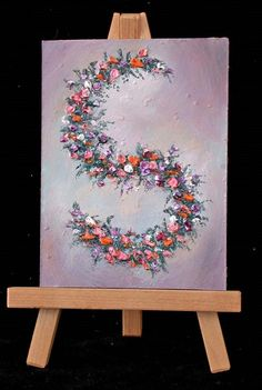Floral S oil painting in alphabet letters 3x4 can by valdasfineart