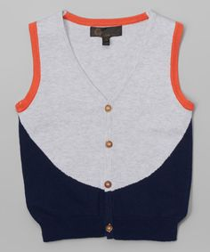 Another great find on #zulily! Navy & Orange Button Vest - Boys by Little Cocoon #zulilyfinds