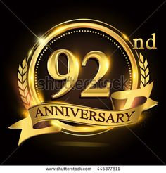92nd golden anniversary logo with ring and ribbon, laurel wreath vector design. - stock vector
