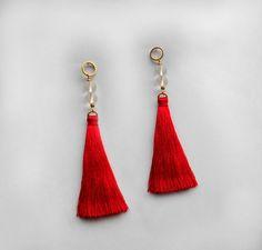 Long Tassel earrings Red tassel earrings Rock crystal by byMadLee