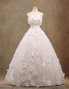A-line Wedding Dress Floor-length Strapless Tulle with Appliques / Beading 5091851 2016 – ₩143,692