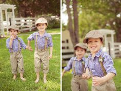 ring bearers in gingham, rolled cuffs, suspenders, and news boy caps