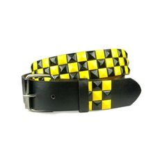 Snap On Punk Rock Star Studded Black Yellow Checker Board Pattern... ($3.99) ❤ liked on Polyvore featuring accessories, belts, studded belt, punk rock belts, checkered belt, star belt and star studded belt