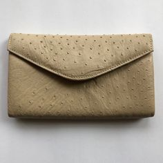 730ee5f934a9 Authentic Corbeu Curio Beige Ostrich Leather Envelope Clutch. Light Beige  ...