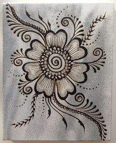 Henna paste and acrylic paint on stretched canvas. Henna Designs Easy, Beautiful Henna Designs, Mehndi Designs, Henna Doodle, Doodle Art, Henna Tatoos, Tattoos, Henna Canvas, Henna Paint