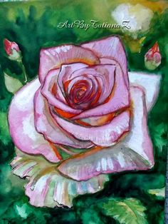 Watercolour paintings – Pink Rose watercolor painting on cardboard – a unique…