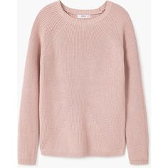 MANGO Ribbed Cotton-Blend Sweater ($40) ❤ liked on Polyvore featuring tops, sweaters, long sleeve sweater, pink top, pink cable knit sweater, ribbed sweater and long sleeve tops