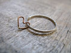 Floating Heart Sterling Silver Stacking Ring by AutumnEquinox, $18.00