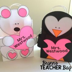 For Valentine's Day I love to let my kiddos make bags to use as their mailboxes. Here are two templates that can be used with medium sized gift bags, and create an easy mailbox for Valentine's. Valentines Day Bags, Valentines Card Holder, Valentine Boxes For School, Easy Valentine Crafts, Valentines Day Activities, Diy Valentine's Bags, Valentine Template, Gift Bags, Therapy Activities