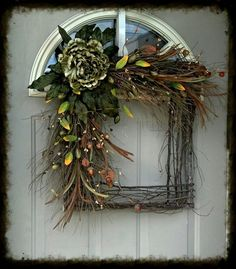 Summer & Fall Grapevine square wreath  Wild Sage Beauty... by bndd, $89.00