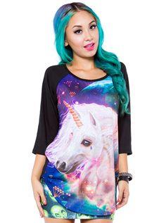 "Women's ""Unicornicopia"" Raglan Tee by Iron Fist (Black) #InkedShop #unicorn #tee #womens #graphictee"