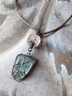 rustic blues oxidized copper necklace with by StudioLunaVerde
