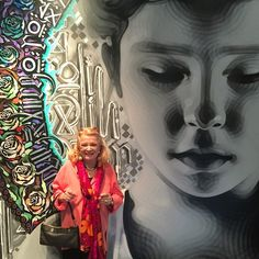 """The great Gena Rowlands in front of """"Collige, Virgo, Rosas"""", 2010 collab with @ironeyeretna .. #aWomanUnderTheInfluence is one of the greatest movies ever.. Photo: @zaclaroc ✨ #Cassavetes #GenaRowlands"""