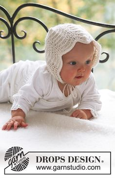 Poppy's Bonnet - Knitted bonnet hat with wave pattern for baby and children in DROPS Alpaca - Free pattern by DROPS Design Baby Knitting Patterns, Baby Hats Knitting, Baby Patterns, Free Knitting, Crochet Patterns, Drops Design, Crochet Design, Bonnet Pattern, Bonnet Hat