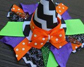 Halloween Black Chevron Witches Hat Hair Clip Hairclip