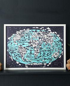 World Map Hand Screen Print | Famille Summerbelle