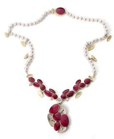 Necklace | Roger Doyle. 'Parasol'  Red enamel, uncut and cut diamonds, pearls and a central moonstone
