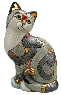 De Rosa Collection hand-made ceramic cat figurine