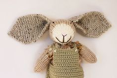 Parker the knitted bunny rabbit soft toy wearing by handylittleme