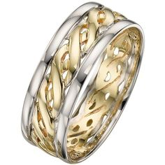 1ae518d1e29886 Love Gold 9 Carat 2 Colour Gold Celtic Wedding Band 7Mm ($310) ❤ liked ·  Pierścionki Z Diamentem