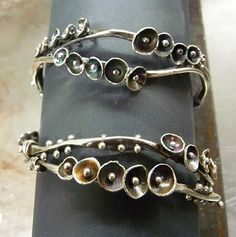 Double Buttercup Bracelets by Andrea Guarino-Slemmons Metal Bracelets, Silver Bracelets, Metal Jewelry, Jewelry Art, Bangle Bracelets, Beaded Jewelry, Silver Jewelry, Jewelry Design, Unique Jewelry