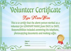 Volunteer Certificate Template #free To Customize, Download, Print And  Email! Hundreds Of