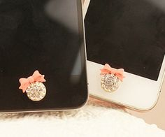 1 pcs  Bling Crystal Bowknot iPhone Home Button Sticker for iPhone 4,4s,4g, iPhone 5, iPad, Cell Phone Charm. $4.98, via Etsy.
