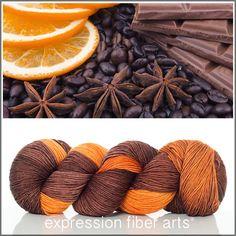 Expression Fiber Arts, Inc. - SPICED CHOCOLATE 'RESILIENT' SUPERWASH MERINO SOCK yarn - deeeelicious warm chocolate brown melts into spicy orange tones