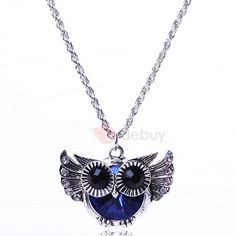 Blue Owl Pendant Necklace