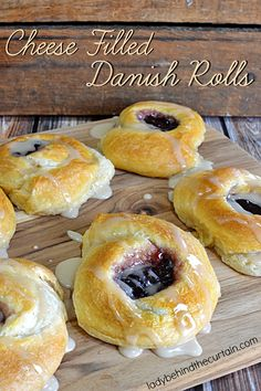 Cheese Danish Rolls – Lady Behind The Curtain Cheese Danish Rolls Cheese Filled Danish Rolls Cream Cheese Crescent Rolls, Crescent Roll Recipes, Brunch Recipes, Sweet Recipes, Breakfast Recipes, Danish Cookies, Danish Pastries, Puff Pastries, Norwegian Food