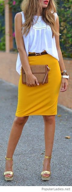 Yellow Pencil Midi Skirt