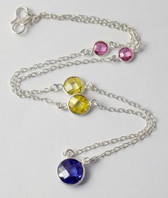 """Blue,Citrine,Pink CZ Briolette Round Gemstone Necklace,Brass 925 Silver Plated Necklace,18"""" Long Pretty Girls,Women Necklace by UGCHONGKONG on Etsy"""
