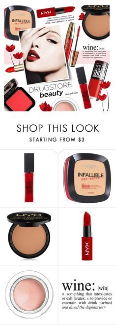 """""""Drugstore Beauty"""" by alexandrazeres ❤ liked on Polyvore featuring beauty, Maybelline, L'Oréal Paris, Max Factor, NYX, e.l.f., WALL, affordable, makeupset and winered"""