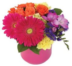 Like! :: Martins, the Flower People Brilliant! Colourful and vivacious, with freesia, spray roses, gerbera etc.    $55.00 Spray Roses, Gerbera, Floral Arrangements, Planter Pots, Spring Summer, People, Flowers, Plants, Color